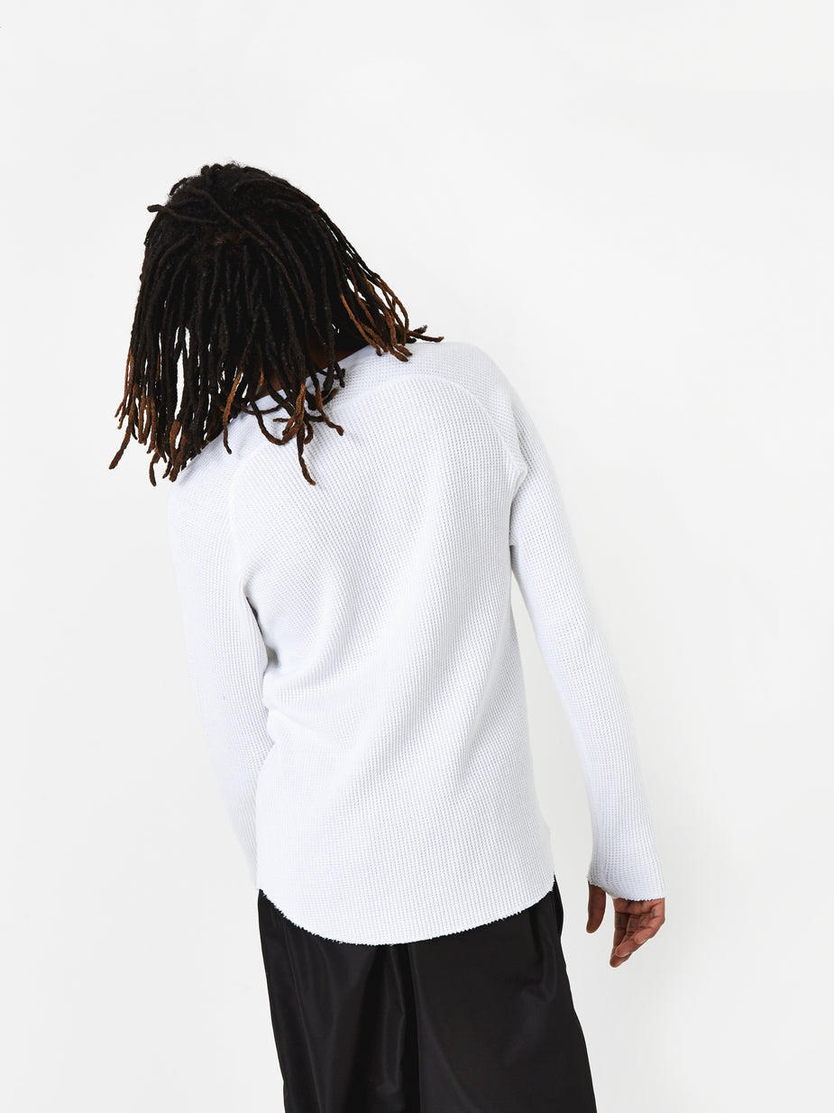 Unused Unused Long Sleeve Waffle T-Shirt - White - White