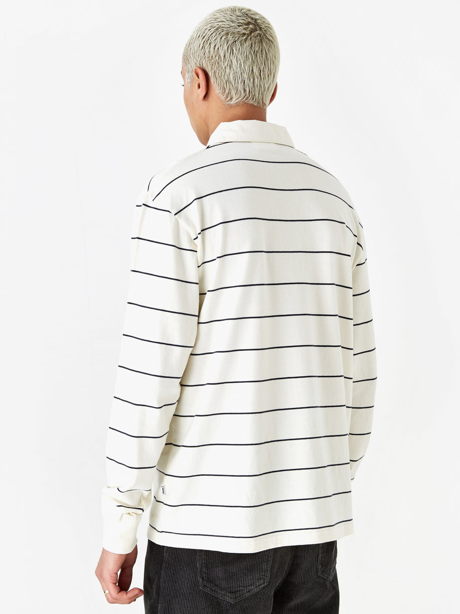Wood Wood Wood Wood Beck Longsleeve Polo Top - Off White Stripe - White