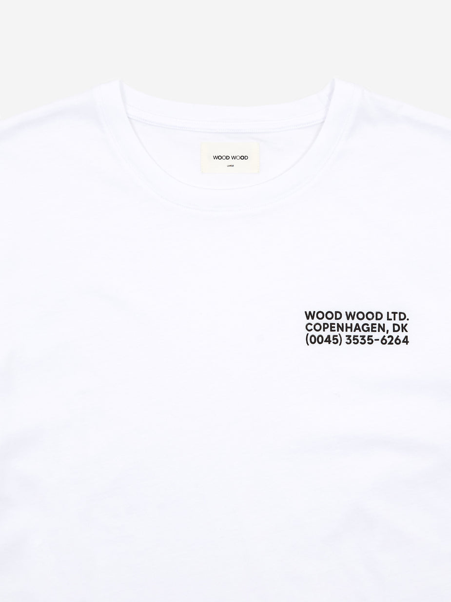 Wood Wood Wood Wood Info Shortsleeve T-Shirt - Bright White - White