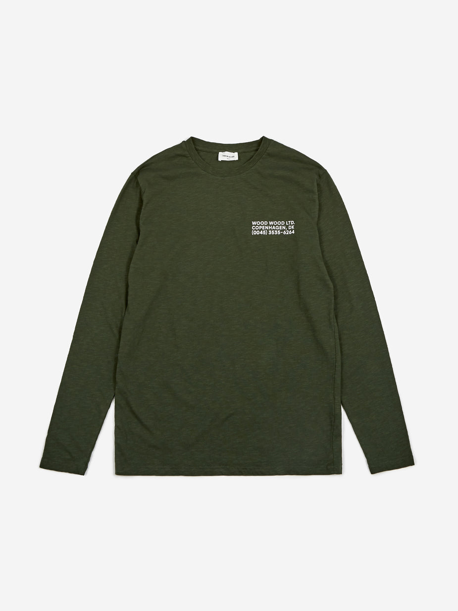 Wood Wood Wood Wood Peter Longsleeve T-Shirt - Dark Green - Green