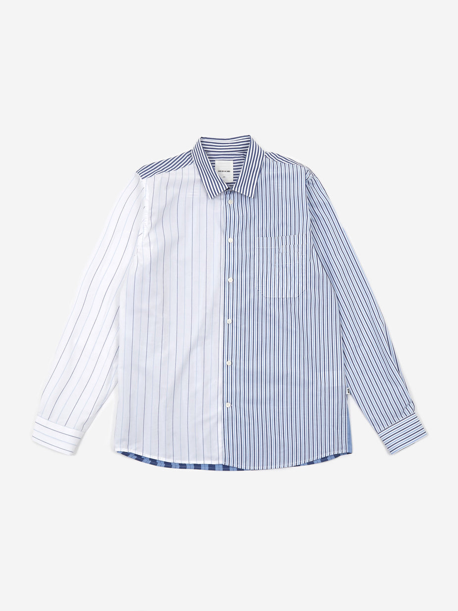Wood Wood Wood Wood Timothy Longsleeve Shirt - Off White Stripes - White