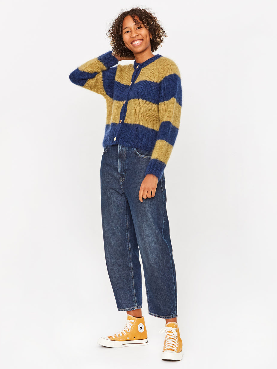 YMC YMC Foxtail Cardigan - Blue/Yellow - Blue