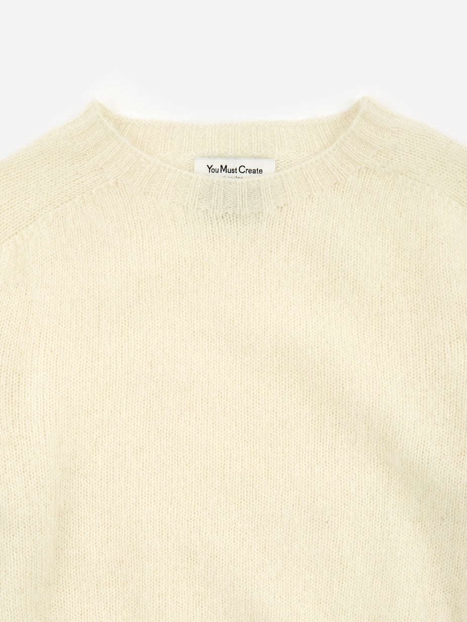 YMC YMC Renegade Crew Neck Jumper - Ecru/Tan - Orange