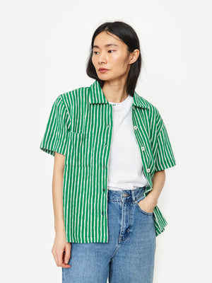 YMC Vegas Shortsleeve Shirt - Green/Ecru Stripe