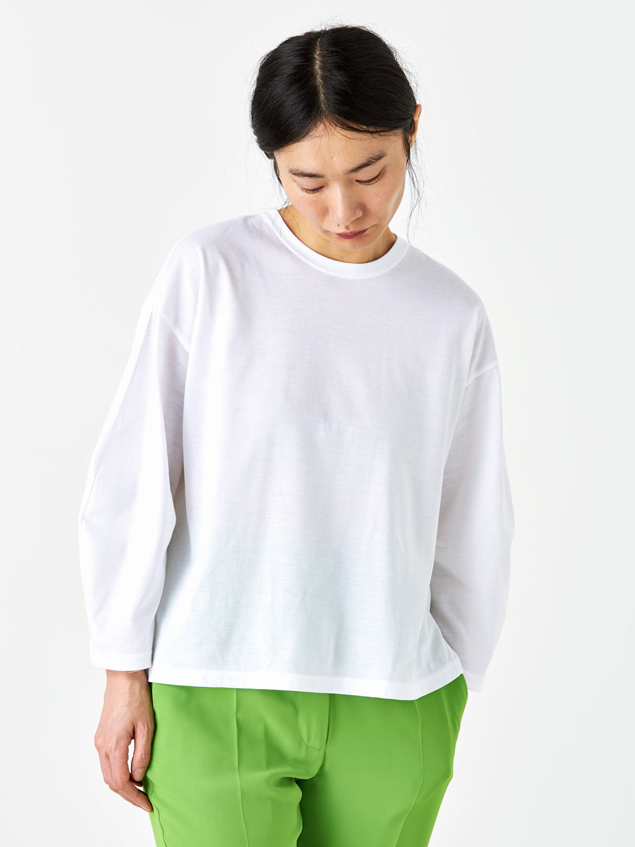 Zucca Zucca Coated Jersey Round Neck Top - White - White