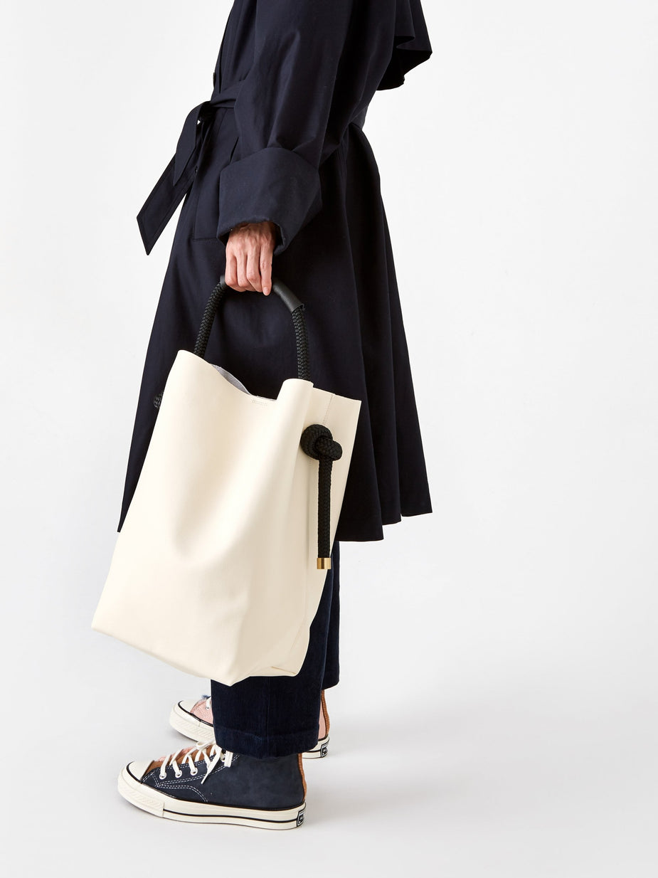 Zucca Zucca Recycled Leather Bucket Bag Large - Off White - White
