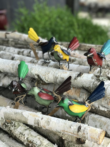 Unique Upcycled Mteal Birds