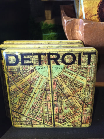 Vintage Detroit Map Coaster