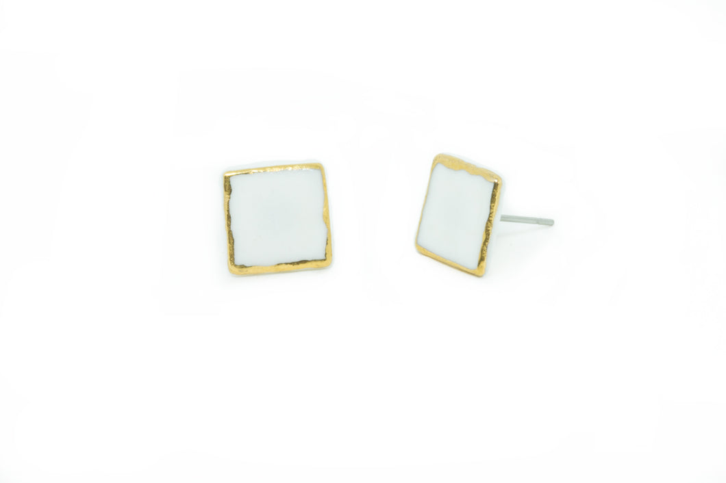 SUSIE Large Porcelain and Gold Square Stud Earring