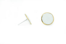 Load image into Gallery viewer, OSE Large Porcelain and Gold Circle Stud Earring