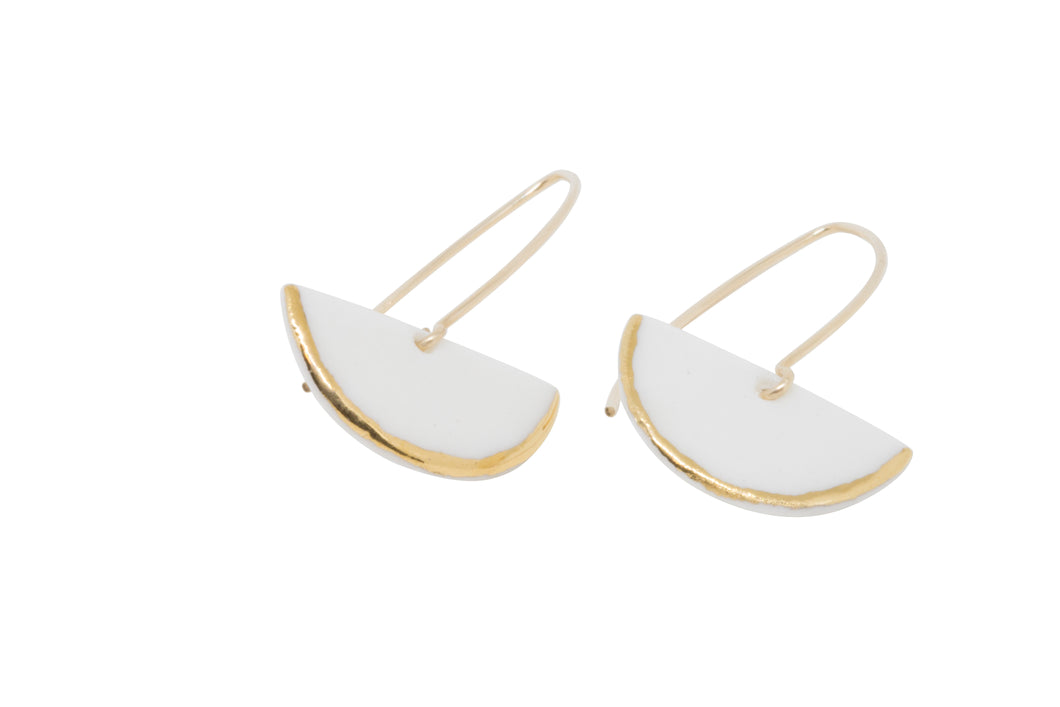SWONA Porcelain and Gold Semi Circle Earring