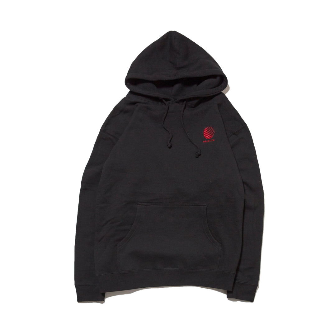 LOGO EMBROIDERED PULL OVER HOODIE - BLACK