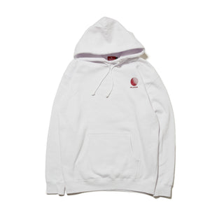 LOGO EMBROIDERED PULL OVER HOODIE - WHITE