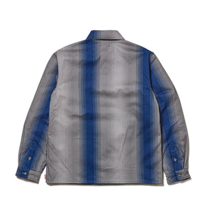 STRIPE FLANNEL SHIRT JACKET - BLUE
