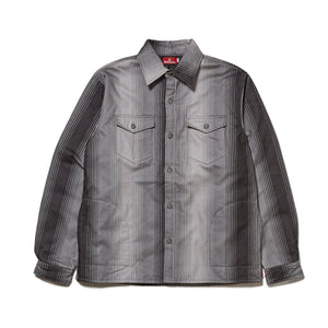 STRIPE FLANNEL SHIRT JACKET - BLACK
