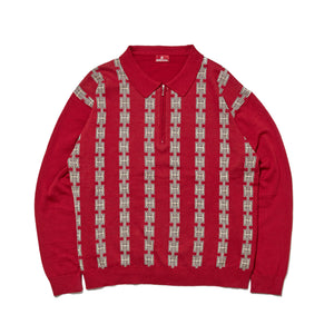 CHAIN HALF ZIP KNIT SWEATER - BURGUNDY