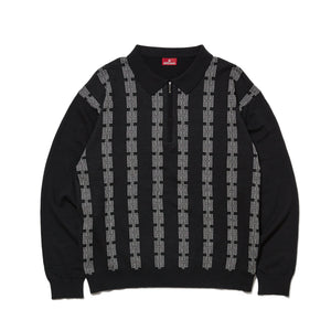 CHAIN HALF ZIP KNIT SWEATER - BLACK