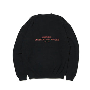 UNDER GROUND FORCES  CREW KNIT SWEATER - BLACK