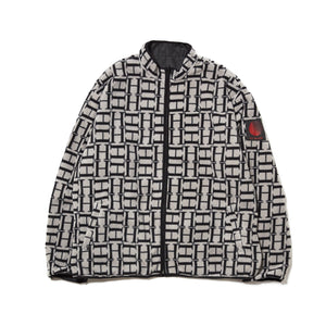 LOGO REVERSIBLE FLEECE NYLON JACKET - BLACK
