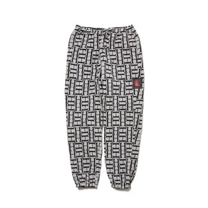LOGO REVERSIBLE FLEECE NYLON PANTS - BLACK