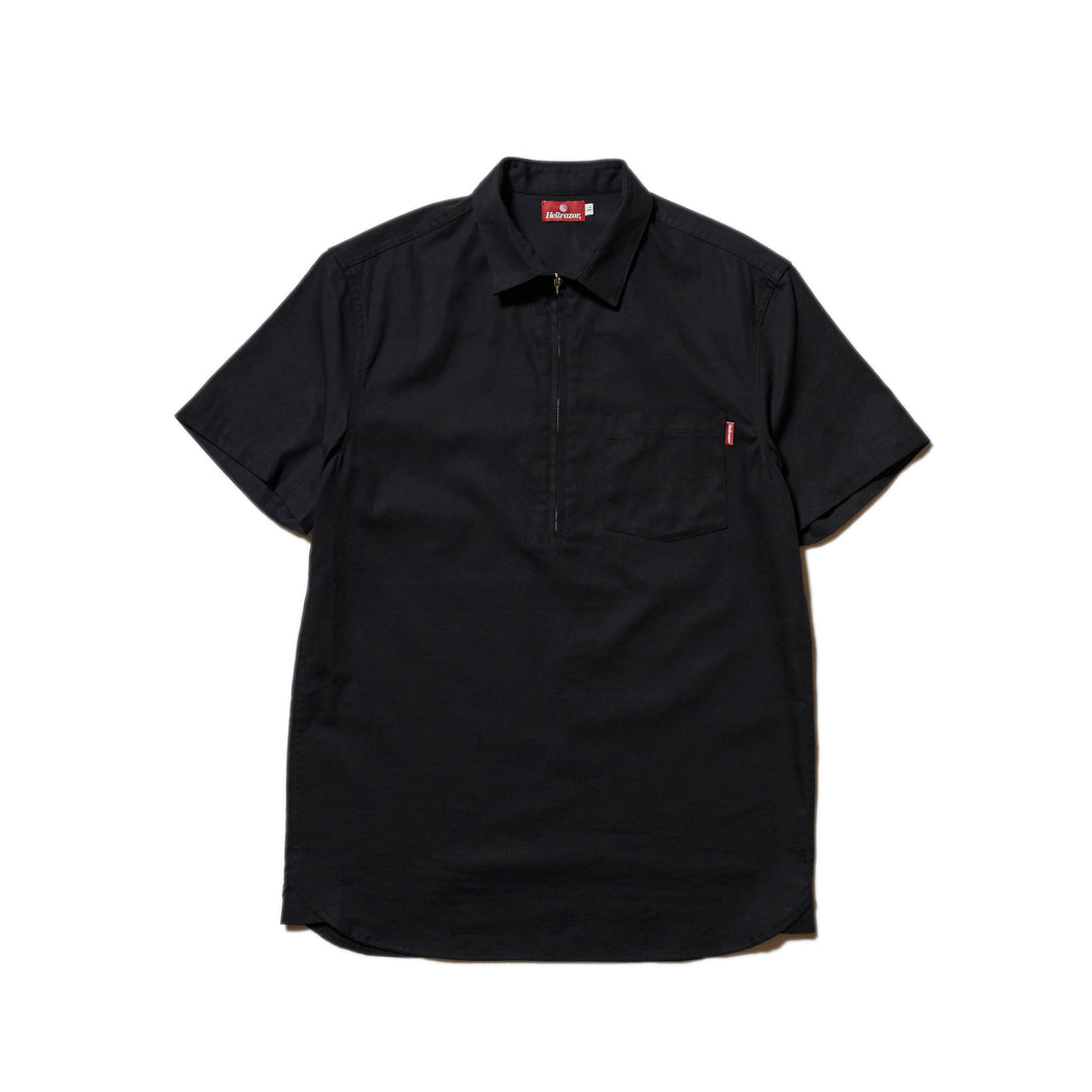 HALF ZIP OXFORD SHIRT - BLACK