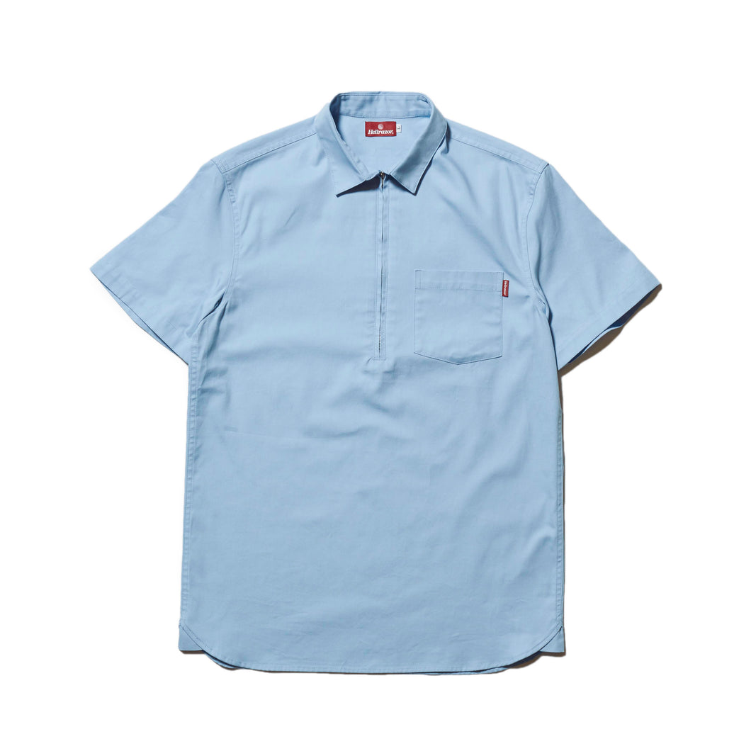 HALF ZIP OXFORD SHIRT - SAX BLUE