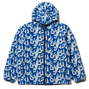 FLAME REVERSIBLE FLEECE NYLON JACKET - BLUE