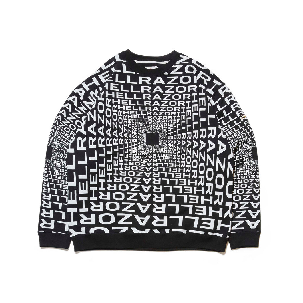 HELLRAZOR x DOWN NORTH CAMP GRAVITATE CREW NECK - BLACK
