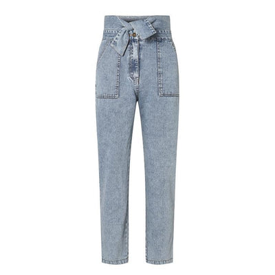 Conmoto Women Jeans Casual High Street High Waist Jeans Female Fashion Knot Pockets Denim Pants 2020 Spring Summer Long Capris boho chic