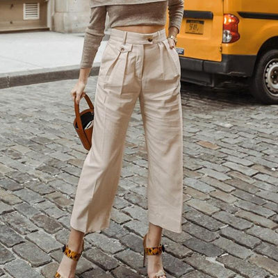 Simplee New Fashion Women Casual Pant Casual Loose Cropped Trousers Jogger Woman Elegant Spring Autumn Solid Straight Pants 2020 pas cher
