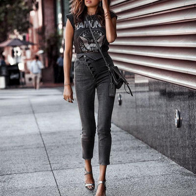 Simplee Sexy Skinny Denim Jeans Women High Waist Buttons Fold Streetwear Pants Capris Summer Fashion Female Gray Pencil Jeans petit prix