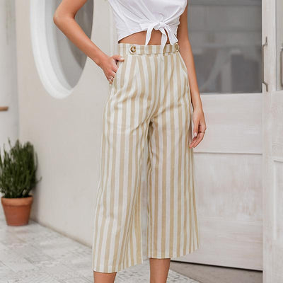 Simplee Casual Striped Wide Leg Pants Women Spring Summer High Waist Trousers Chic Streetwear Buttons Holiday Office Female Pant meilleur