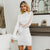 Glamaker Lace White Bodycon Mini Dress Women Two Piece Suit Flare Sleeve Winter Dress Autumn Short Sexy Party Club Elegant Dress hippie