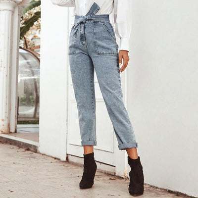 Conmoto Women Jeans Casual High Street High Waist Jeans Female Fashion Knot Pockets Denim Pants 2020 Spring Summer Long Capris hippie
