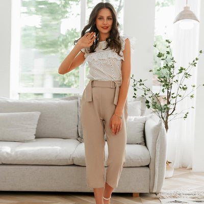 Simplee Pleated Polyester Office Lady Pants Mid Waist Casual Cropped  Trousers Women Decorative Belt Female Pencil Pants Charmante