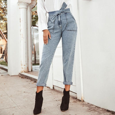 Conmoto Women Jeans Casual High Street High Waist Jeans Female Fashion Knot Pockets Denim Pants 2020 Spring Summer Long Capris mode