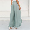 Simplee Sexy Ruffles Casual Women Pants Capri High Waist Baggy Split Summer Pants Female Ladies Wide Leg Trousers Bottom 2018 mode