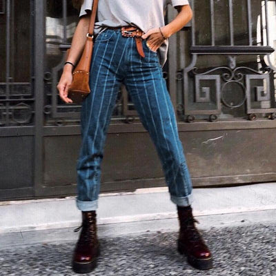 Simplee Sexy Stripe Blue Jeans Women Pants Zipper Pocket Denim Pants Casual Streetwaer Autumn Trousers 2018 High Waist Pants meilleur