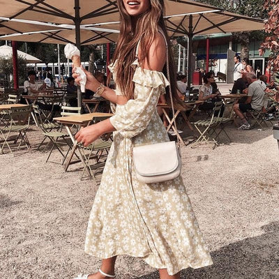 Conmoto Twist Off Shoulder Casual Women Dress Ruffle Beach Summer 2019 Dresses Female Floral Print Dress Suit Vestidos femme