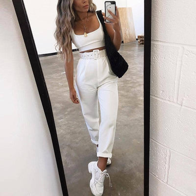 Glamaker White Buckle Belt Trousers Women Pants Female Loose Work High Waist Suit Pants Sexy Straight Sash Pants Patalon Bottom Ravissante