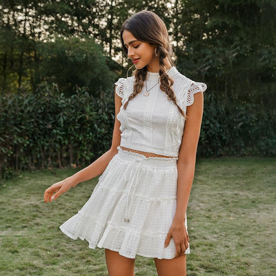 Simplee Two-Piece White Holiday Dress Women Sleeveless Hollow Out Ruffle Lace Up Mini Dresses Summer Short Top Skirt Lady Dress Belle