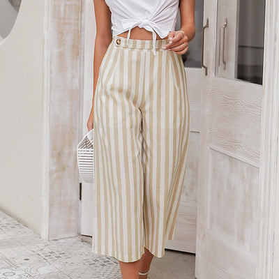 Simplee Casual Striped Wide Leg Pants Women Spring Summer High Waist Trousers Chic Streetwear Buttons Holiday Office Female Pant chic