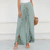 Simplee Sexy Ruffles Casual Women Pants Capri High Waist Baggy Split Summer Pants Female Ladies Wide Leg Trousers Bottom 2018 boho chic