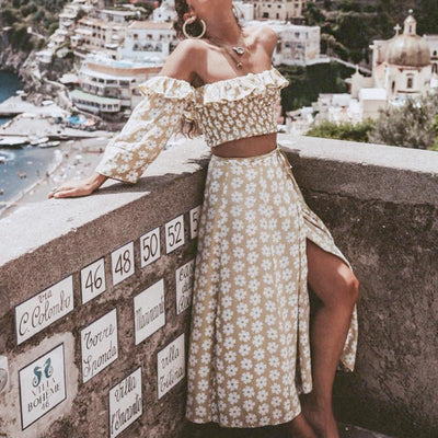 Conmoto Twist Off Shoulder Casual Women Dress Ruffle Beach Summer 2019 Dresses Female Floral Print Dress Suit Vestidos hippie