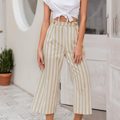 Simplee Casual Striped Wide Leg Pants Women Spring Summer High Waist Trousers Chic Streetwear Buttons Holiday Office Female Pant pas cher