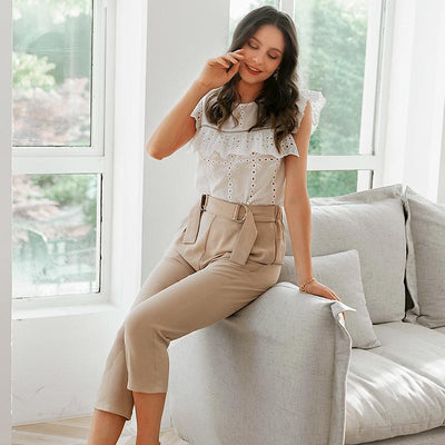 Simplee Pleated Polyester Office Lady Pants Mid Waist Casual Cropped  Trousers Women Decorative Belt Female Pencil Pants chic