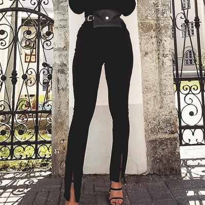 Glamaker High Waist Solid Casual Trousers Women Bodycon Split Pants Female Office Lady Fashion Pants Elegant Patalon Bottoms style