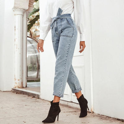 Conmoto Women Jeans Casual High Street High Waist Jeans Female Fashion Knot Pockets Denim Pants 2020 Spring Summer Long Capris au tissu raffiné