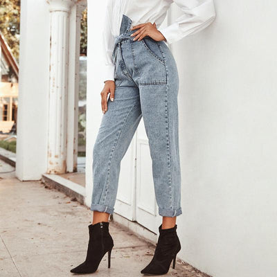 Conmoto Women Jeans Casual High Street High Waist Jeans Female Fashion Knot Pockets Denim Pants 2020 Spring Summer Long Capris Ravissante