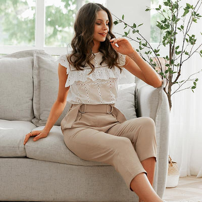 Simplee Pleated Polyester Office Lady Pants Mid Waist Casual Cropped  Trousers Women Decorative Belt Female Pencil Pants de bohemienne